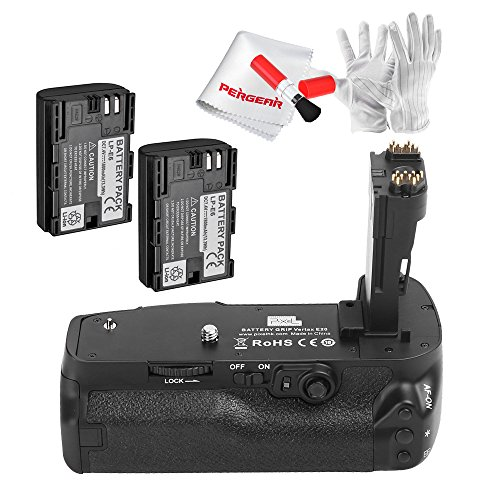 Pixel E20 Battery Grip with 2 Pcs 1800mAh Rechargeable Batteries, Battery Charger and PERGEAR Cleaning Kit for Canon 5D Mark IV Digital SLR Camera
