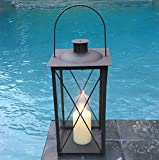 The Urban Chic Industrial Metal Cross Post Hurricane Lanterns, 15 3/4 Inches Tall (40cm), Rustic Anthracite Brown Colored Iron and Crystal Clear Glass Panels, Vintage Style, By Whole House Worlds