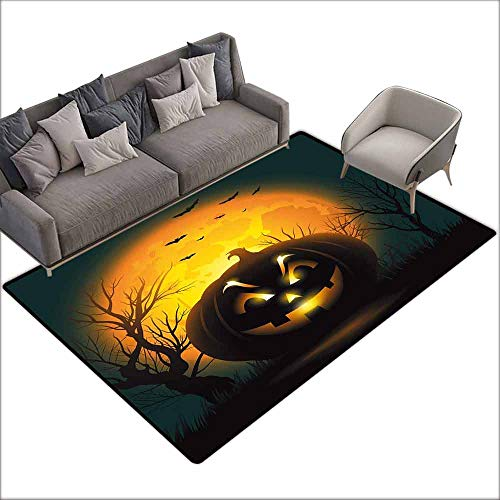 Floor Mat Entrance Doormat Halloween,Fierce Character Evil Face Ominous Aggressive Pumpkin Full Moon Bats,Orange Dark Brown Black 48