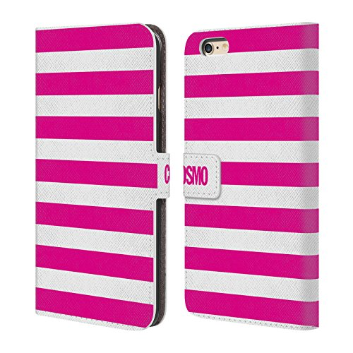 Official Cosmopolitan Pink Stripes Collection Leather Book Wallet Case Cover For Apple iPhone 6 Plus / 6s Plus