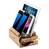 iCozzier Mini Bamboo iWatch Stand, Multi-Device Charging Station and Cord Organizer Stand Dock for Apple Watch, iPhone, iPad, Samsung, Smartphones, Tablets
