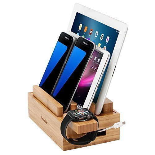 iCozzier Mini Bamboo iWatch Stand, Multi-device Charging Station and Cord Organizer Stand Dock for Apple Watch, iPhone, iPad, Samsung, Smartphones, Tablets by iCozzier