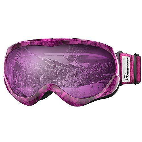 OutdoorMaster Kids Ski Goggles - Helmet Compatible Snow Goggles for Boys & Girls with 100% UV Protection (Purple Pattern Frame + VLT 30% Purple Lens) Purple Kids Goggles