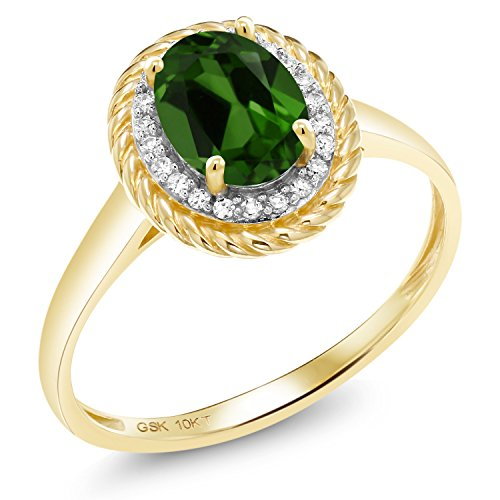 (1.35 Ct Oval Green Chrome Diopside White Diamond 10K Yellow Gold Ring (Size)