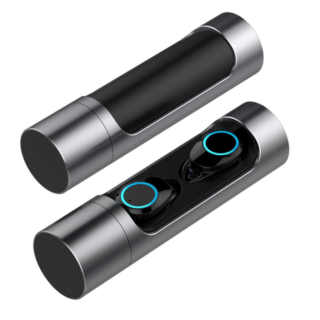Sonmer X8 Mini Twins Bluetooth 5.0 Stereo HiFi Noise Reduction Earbuds,Build-in Mic,With 1000mAH Charging Dock (Gray)