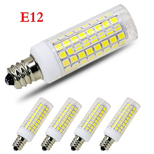 [4-Pack] E12 Led Bulb Candelabra Light Bulbs 8W, 100W (850LM) Equivalent Ceiling Fan Bulbs, Daylight 6000K, LED Chandelier Light Bulbs, LED Candle Bulbs (Base E12) Home Light Fixtures Decorative.