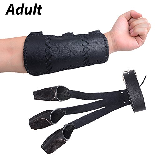 (XTACER Leather Finger Protector & Leather Arm Guard 3-Strap Arm Guard with Three Fingers Design Archery Finger Protector Traditional Shooting Glove Black - Leather (Adult Size, Eagle Claw) )