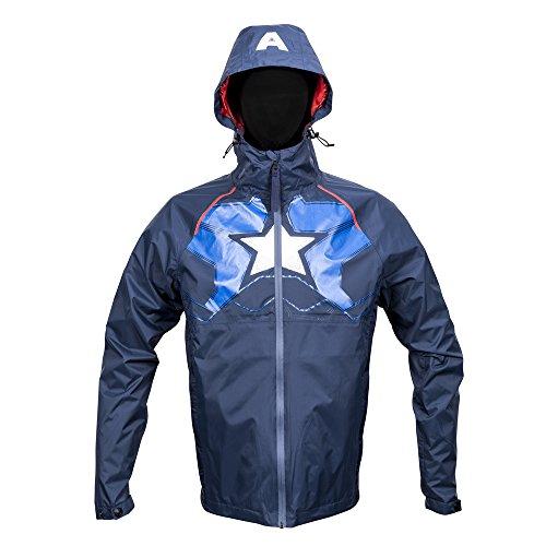 Marvel Captain America Zip Raincoat Hooded Jacket Small Navy