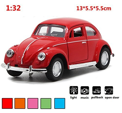 (Classic 1967 Volkswagen Vw Classic Beetle Bug Vintage 1/32 Scale Diecast Metal Pull Back With sound and light Car Model Toy For Gift/Kids (RED))