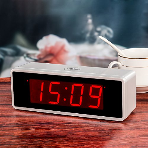 kwanwa portable electric alarm clock with large 1 4 39 39 red led numbers display battery operated. Black Bedroom Furniture Sets. Home Design Ideas
