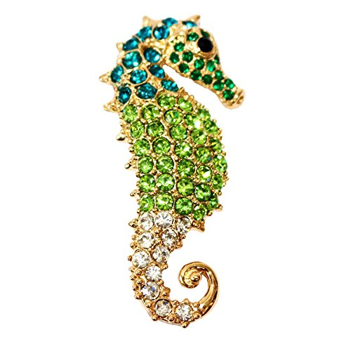 Navachi 18k Gold Plated Green Crystal Hippocampus Az7271b Brooch ()