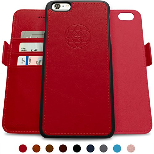 Dreem iPhone 6/6s PLUS Wallet Case with Detachable SlimCase, Fibonacci Luxury Series, Vegan Leather, RFID Protection, 2-Way Stand, Gift Box - Red Red Luxury Leather