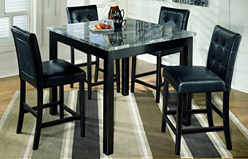 Signature Design by Ashley D154-223 Maysville Collection Counter Height Dining Room Table and Barstools, Set of 5, Black