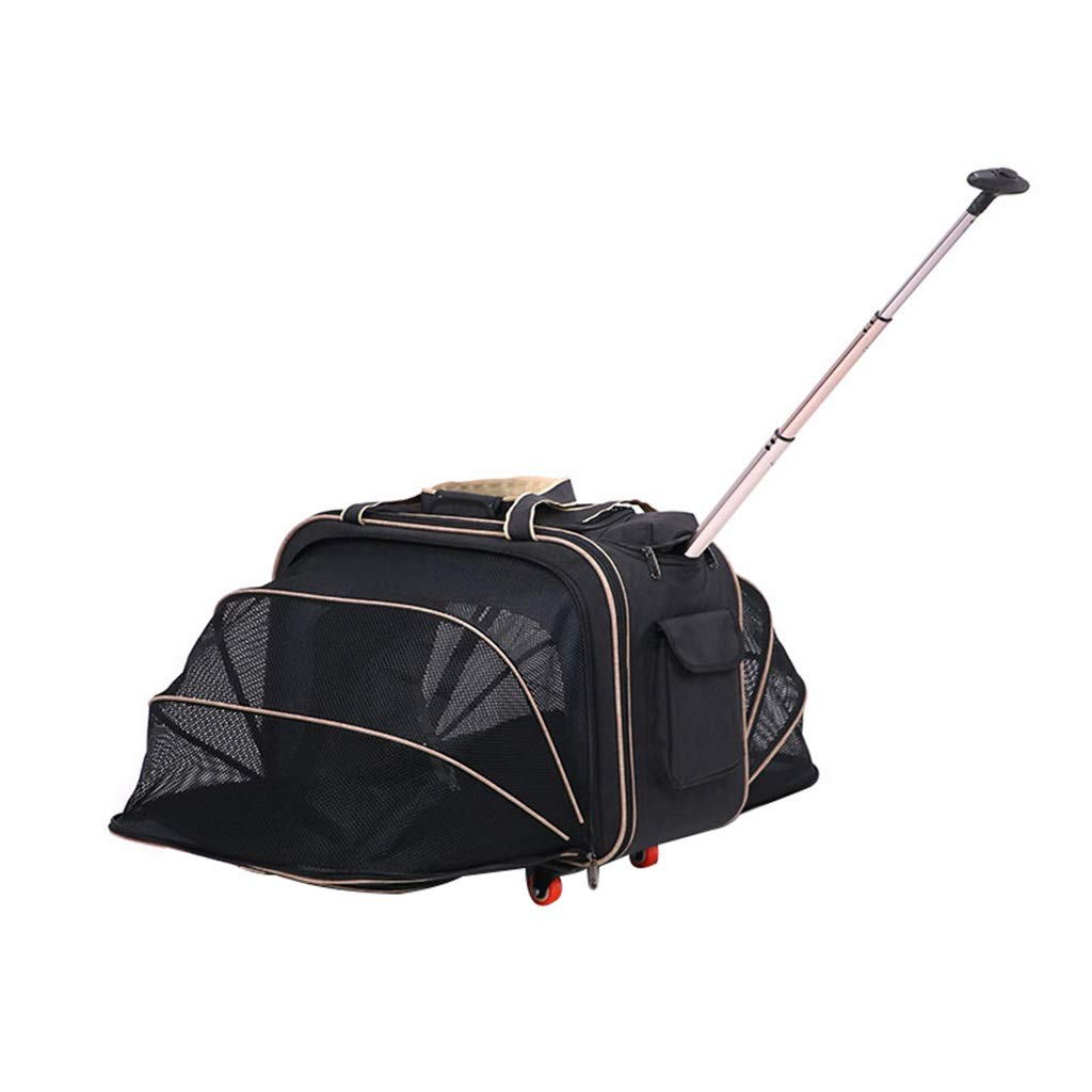 C Pet Bag Pet Trolley Bag Large Capacity Fabric Roller Out Pet Suitcase Suitable For Walking Shopping Out Pink 25.9x12.5x14.9 Inches