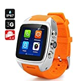 IMACWEAR M7 Waterproof Smart Watch Phone,Android 5.1 OS Dual-core CPU Sports Pedometer, Heart Rate Monitor, GPS (Orange)