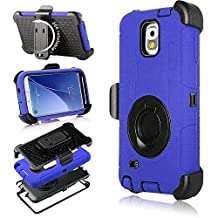 Galaxy Note 3 Case, Note 3 Case, Jwest Shockproof Hybrid Rugged Samsung Galaxy Note 3 Case Rubber Three Layer Holster Cover Case for Samsung Galaxy Note 3 with Built-in Rotating Stand and Belt Swivel Clip Blue
