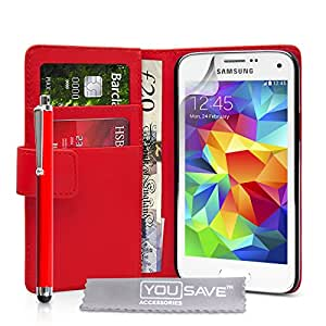 Yousave Accessories Samsung Galaxy S5 Mini Case Red PU Leather Wallet Cover With Stylus Pen