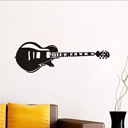 Chellonm Guitarra Eléctrica Pegatinas De Pared Silueta Música Paredes Calcomanías De Vinilo Pegatina Decoración Para El