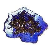 Top Plaza Natural Rock Crystal Quartz Titanium Coated Reiki Healing Crystal Geode Druzy Mineral Specimen Decoration(Royal Blue)
