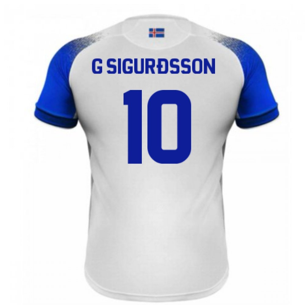 2018-2019 Iceland Away Errea Football Soccer T-Shirt Trikot (Gylfi Sigurdsson 10)