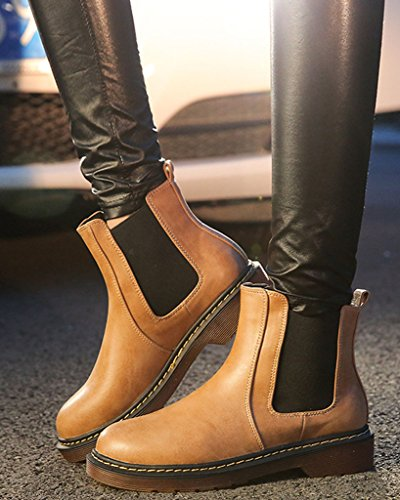 Minetom Womens Ladies Round Toe Chelsea Low Block Heel Winter Leather Comfort Ankle Boots Yellow vgXiuOx