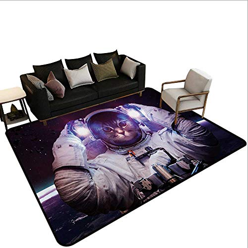 - Home Custom Floor mat,Kitty in Cosmonaut Suit in Galaxy Stars Supernova Design Image 6'6