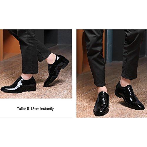 CHAMARIPA Chaussures en cuire a talonnette pour homme de type Oxford - Plus grand de 7 cm