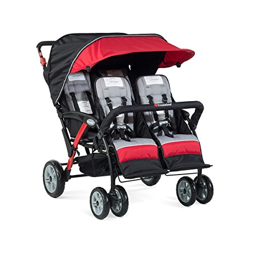 Foundations Infant Toddler Sport Splash 4 Passenger Quad Stroller - Red