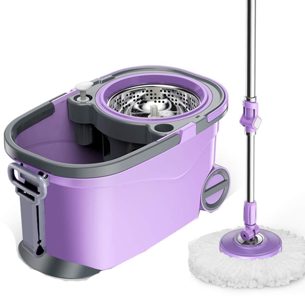 モップ 回転する 手洗い無料 世帯 手の圧力 湿潤および乾燥 ダブルドライブ モップバケツ、 4モップヘッド B07J68Y4HX