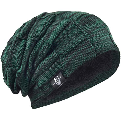 (VECRY Mens Beanie Hat Fleece Lined Knit Hat Thick Skull Cap (Plaid-Green))