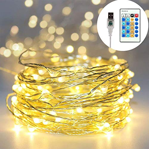 YMING LED String Lights 33 ft with 100 LEDs, Waterproof Outdoor & Indoor Decorative Lights for Bedroom, Garden, Patio, Parties. UL588 and TUVus Approved (Copper Wire Lights, Warm White)