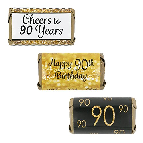 90th Birthday Party Miniatures Candy Bar Wrapper Stickers - Gold and Black (Set of 54) (Ideas For 90th Birthday)