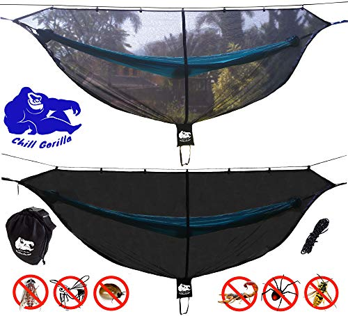 "Chill Gorilla Defender Hammock Mosquito Net Stops All Bugs & Insects. Fast Easy Setup. Compact, Lightweight. Size 132"" x 51"". Camping Accessories."