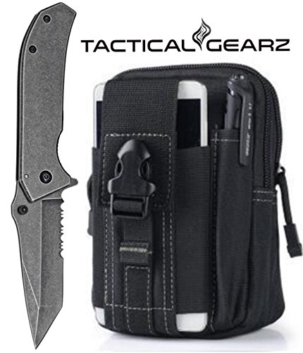 Tactical Folding Knife, Black StoneWashed, 440 Stainless Steel Blade, Safe Spring Assist (Black)