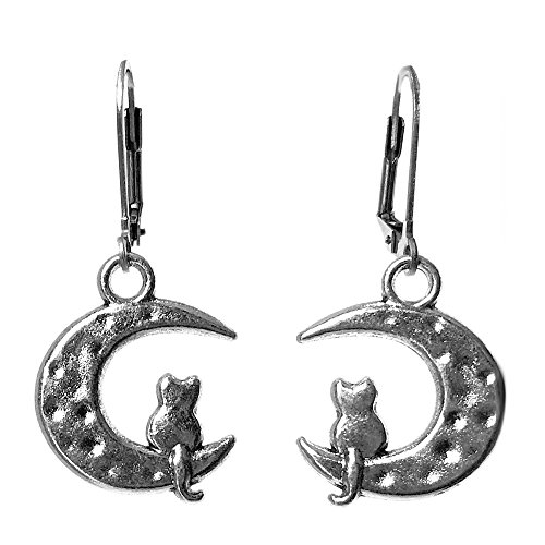e Crescent Moon Cat Charm Dangle Earrings (Leverback Moon Cat) (Kitty Charm Earrings)