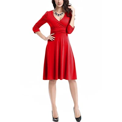 Aamikast 3/4 Sleeve Ruched Empire Waist Cute V-Neck Casual Cocktail Dress For Women
