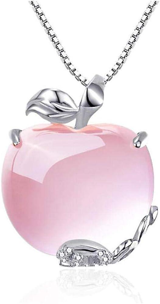 Pmhhc Apple Natural Cuarzo Rosa Oro Blanco 925 Plata Esterlina Moda Mujer Colgantes Caja Cadena Collares Joyería 40 Cm