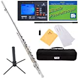 Mendini Closed-Hole Key of C Flute, Silver Plated and Tuner, Case, Stand, Pocketbook - MFE-S+SD+PB+92D