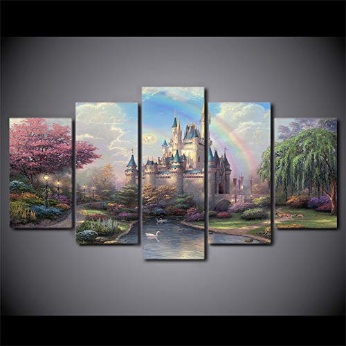 QMLJH 5 Pieces Canvas Art Fairytale Castle Landscape Painting Mural Decoration Hd Print No Frame ()
