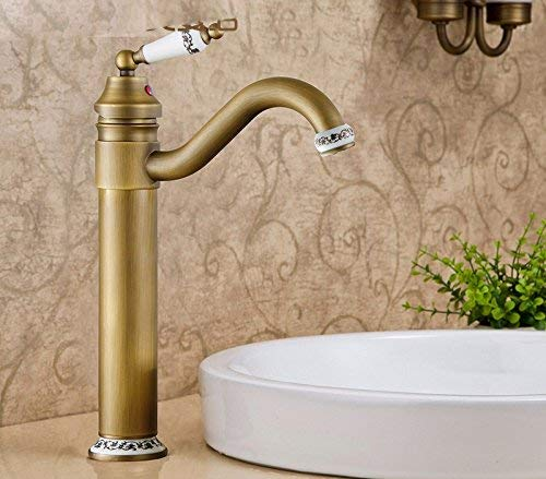 Oudan European Style Retro Hot And Cold All Copper Washbasin Single Handle Single Hole Sink Faucet