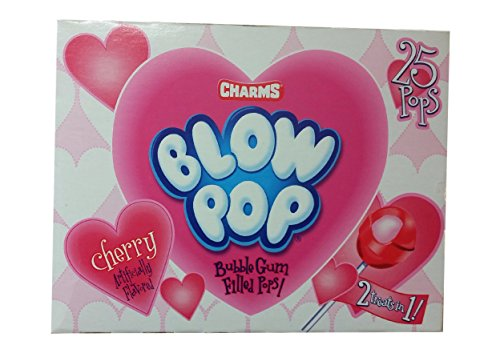 (Charms Blow Pops - Cherry - 1 Box of 25 Pops)