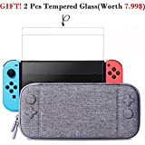 Nintendo Switch Slim Case and 2Pack Tempered Glass Screen Protector - Protective Travel Carrying Case with 10 Game Cartridges, Hard Shell Pouch for Nintendo Switch Console and Accessories