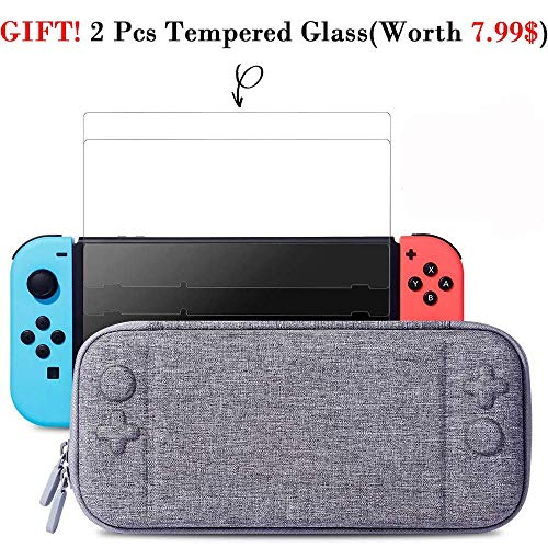 Nintendo Switch Slim Case and 2Pack Tempered Glass Screen Protector - Protective Travel Carrying Case with 10 Game Cartridges, Hard Shell Pouch for Nintendo Switch Console and Accessories from EMOKiLi