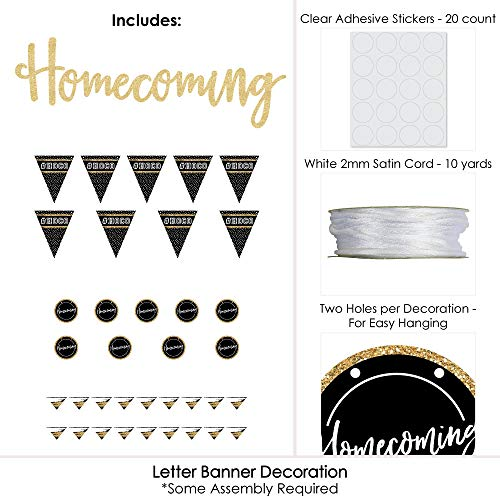 HOCO Dance - Homecoming Letter Banner Decoration - 36 Banner Cutouts and No-Mess Real Gold Glitter Homecoming Banner Letters by Big Dot of Happiness (Image #2)
