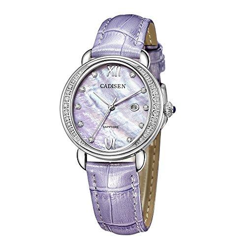 BAOGELA Womens watches Fashion Luxury Dress Quartz Wrist Watch with Leather Strap (Purple)