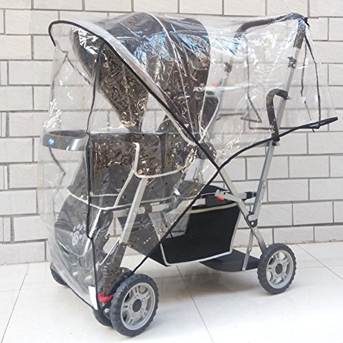 Aligle Weather Shield Double Popular for Swivel Wheel Stroller Universal Size Baby Rain Cover/Wind Shield Deal (Black) by Aligle (Image #3)