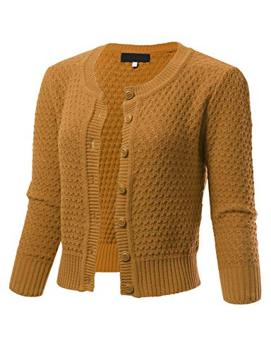 (ARC Studio Womens Button Down 3/4 Sleeve Crewneck Cropped Knit Cardigan Crochet Sweater M Bronze)