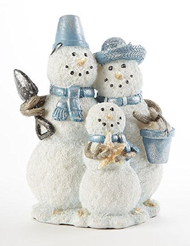 Delton Products Coastal Snowman Family 6 Inches x 8 Inches Resin Holiday ()