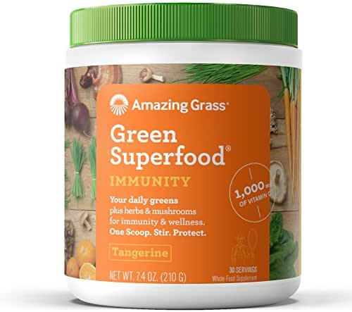 Amazing Grass Green Superfood Immunity: Organic Vitamin C (1,000mg), Mushrooms and 7 Greens, 1 Full Serving of Fruits and Veggies per Scoop, Tangerine Flavor, 30 Servings,7.4 Ounce (1 Count)