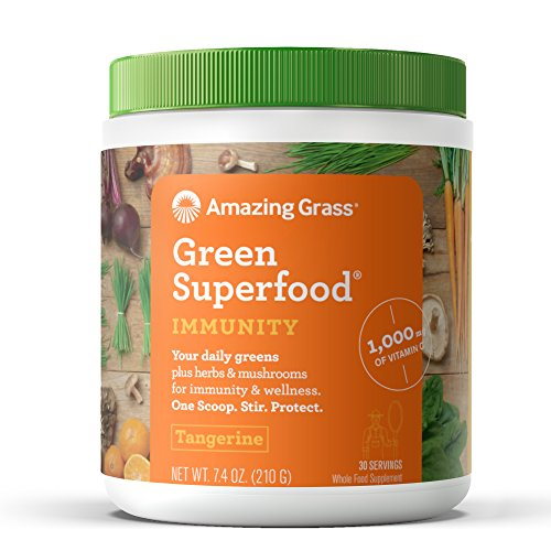 Amazing Grass Green Superfood Immunity Booster Organic Powder with 1000mg Vitamin C, Mushrooms and 7 Greens, Flavor: Tangerine, 30 - Treatment Seven Herb